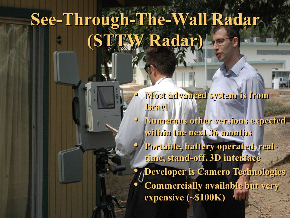 Most advanced system is from Israel Numerous other versions expected within the next 36 months Portable, battery operated, real- time, stand-off, 3D i