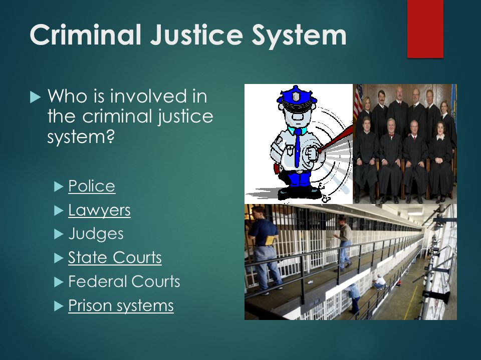 Criminal Justice System  Who is involved in the criminal justice system.