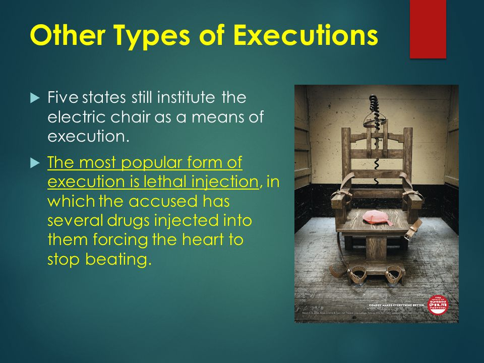 Other Types of Executions  Five states still institute the electric chair as a means of execution.