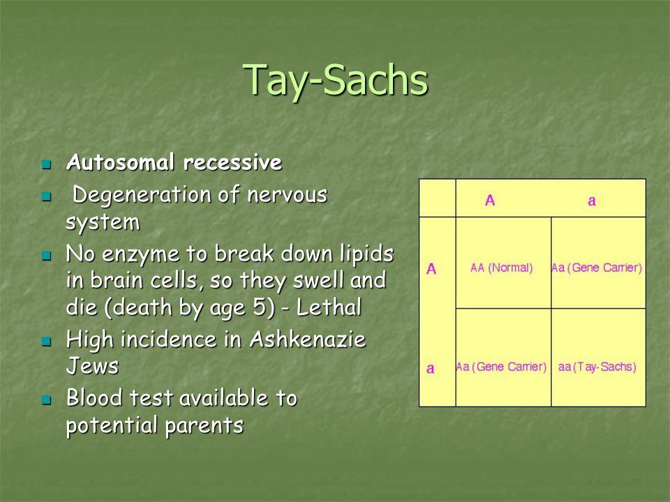 Tay-Sachs Autosomal recessive Autosomal recessive Degeneration of nervous system Degeneration of nervous system No enzyme to break down lipids in brai