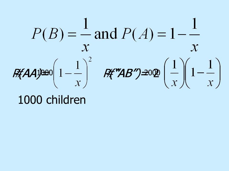 P(AA)= P( AB )= 1000 children 2#AA = # AB = 1000 2000
