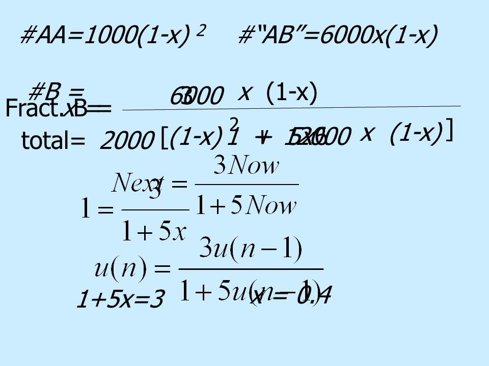 #AA=1000(1-x) 2 # AB =6000x(1-x) #B = total=2000 (1-x)12000 x(1-x) + 2 6[ ] 1 + 5x 6000 x(1-x) Fract.