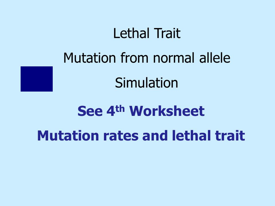 Lethal Trait Mutation from normal allele Simulation See 4 th Worksheet Mutation rates and lethal trait