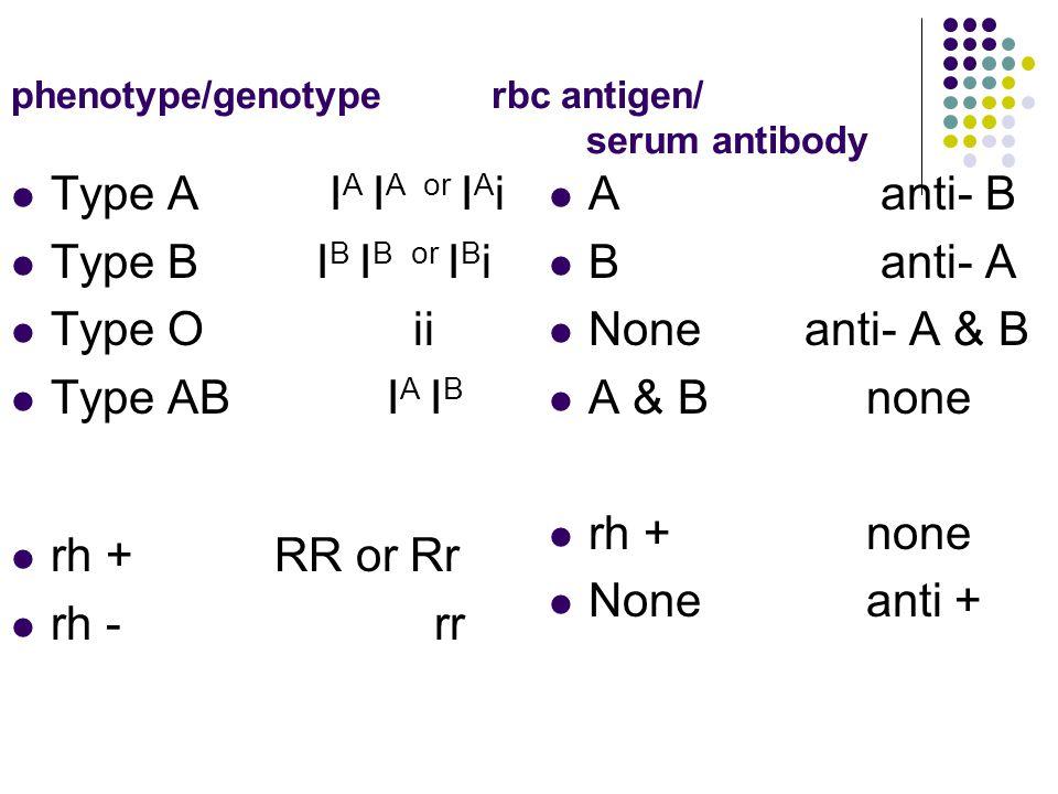 phenotype/genotype rbc antigen/ serum antibody Type A I A I A or I A i Type B I B I B or I B i Type O ii Type AB I A I B rh + RR or Rr rh -rr A anti-