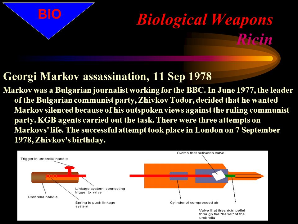 Biological Weapons Ricin Georgi Markov assassination, 11 Sep 1978 Markov was a Bulgarian journalist working for the BBC.