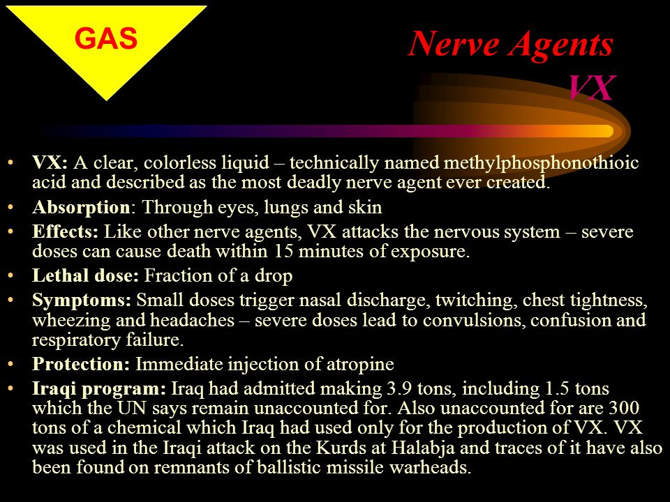 Nerve Agents VX VX: A clear, colorless liquid – technically named methylphosphonothioic acid and described as the most deadly nerve agent ever created.