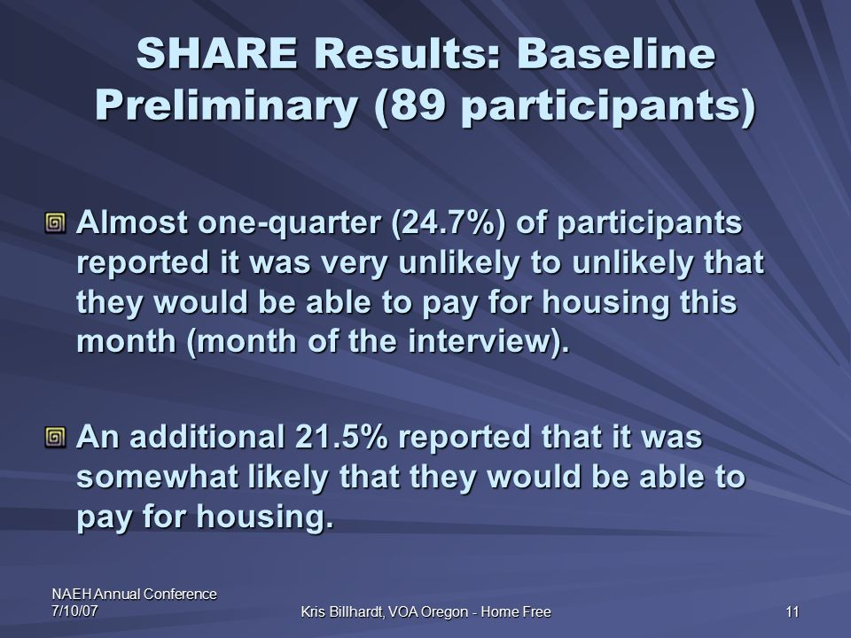 NAEH Annual Conference 7/10/07 Kris Billhardt, VOA Oregon - Home Free 11 SHARE Results: Baseline Preliminary (89 participants) Almost one-quarter (24.