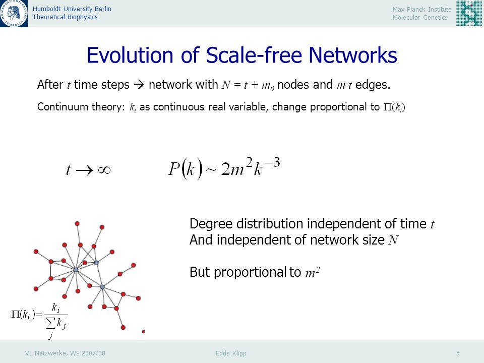 VL Netzwerke, WS 2007/08 Edda Klipp 5 Max Planck Institute Molecular Genetics Humboldt University Berlin Theoretical Biophysics Evolution of Scale-free Networks After t time steps  network with N = t + m 0 nodes and m t edges.