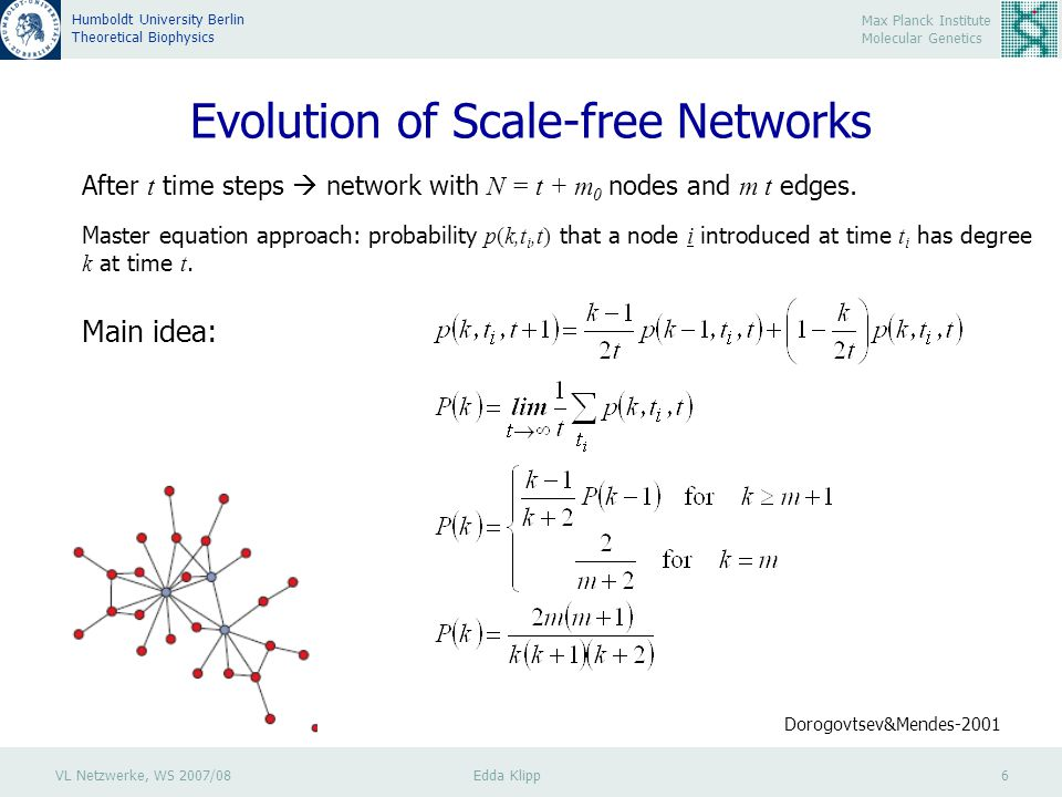 VL Netzwerke, WS 2007/08 Edda Klipp 6 Max Planck Institute Molecular Genetics Humboldt University Berlin Theoretical Biophysics Evolution of Scale-free Networks After t time steps  network with N = t + m 0 nodes and m t edges.