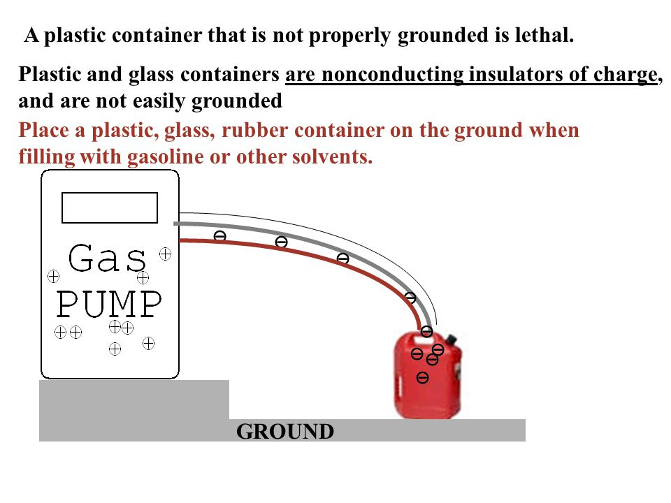 Place a plastic, glass, rubber container on the ground when filling with gasoline or other solvents.