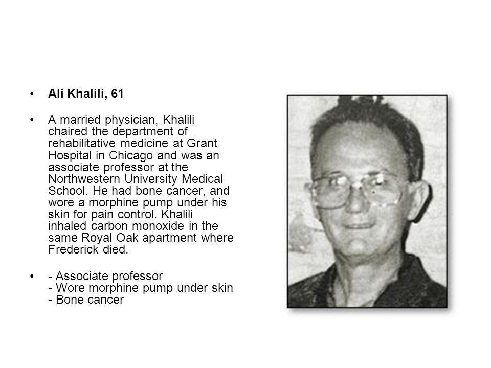 Ali Khalili, 61 A married physician, Khalili chaired the department of rehabilitative medicine at Grant Hospital in Chicago and was an associate profe