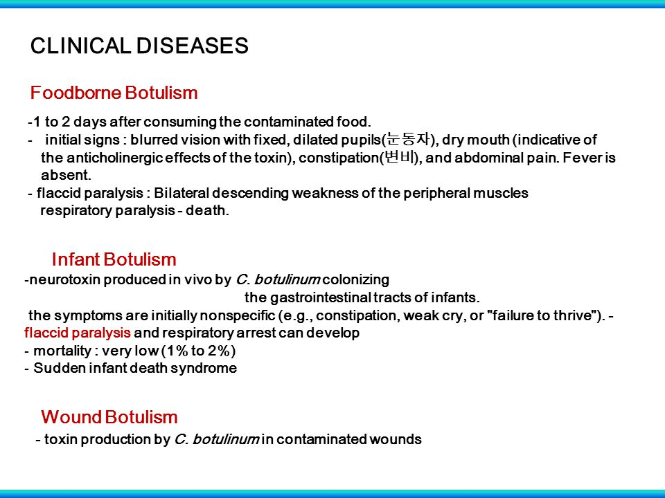 CLINICAL DISEASES Foodborne Botulism -1 to 2 days after consuming the contaminated food.