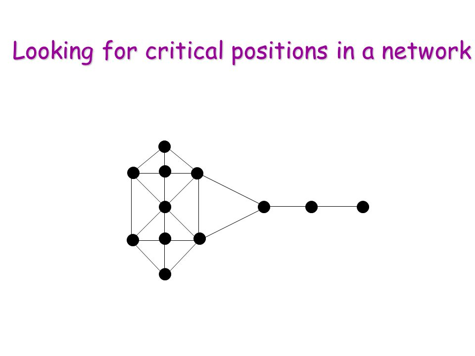 Looking for critical positions in a network