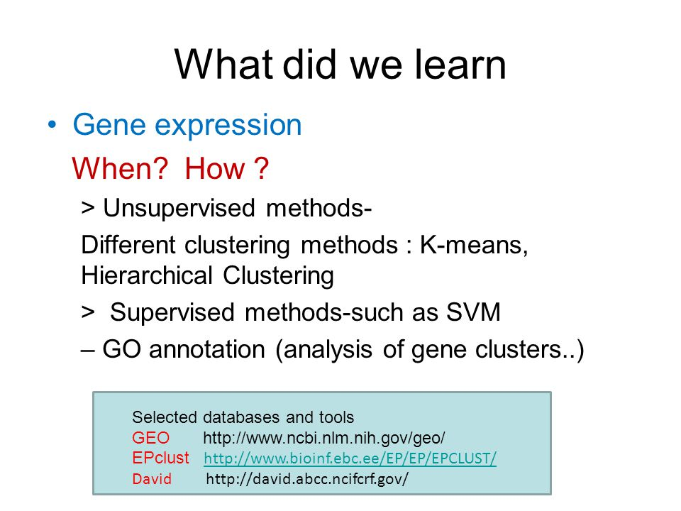 What did we learn Gene expression When. How .