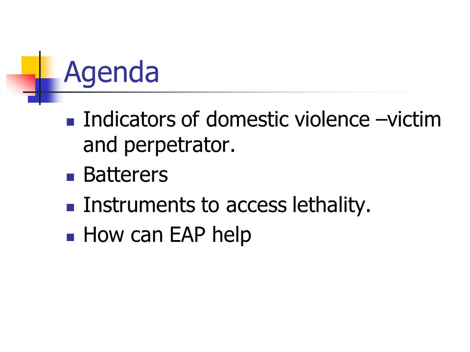 Agenda Indicators of domestic violence –victim and perpetrator.