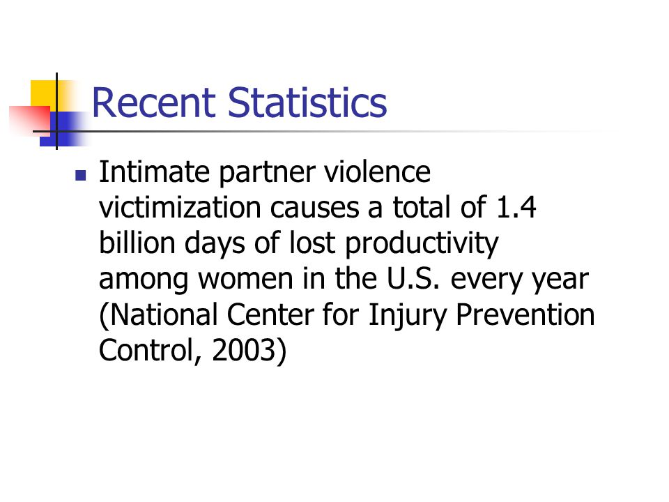 Recent Statistics Intimate partner violence victimization causes a total of 1.4 billion days of lost productivity among women in the U.S.