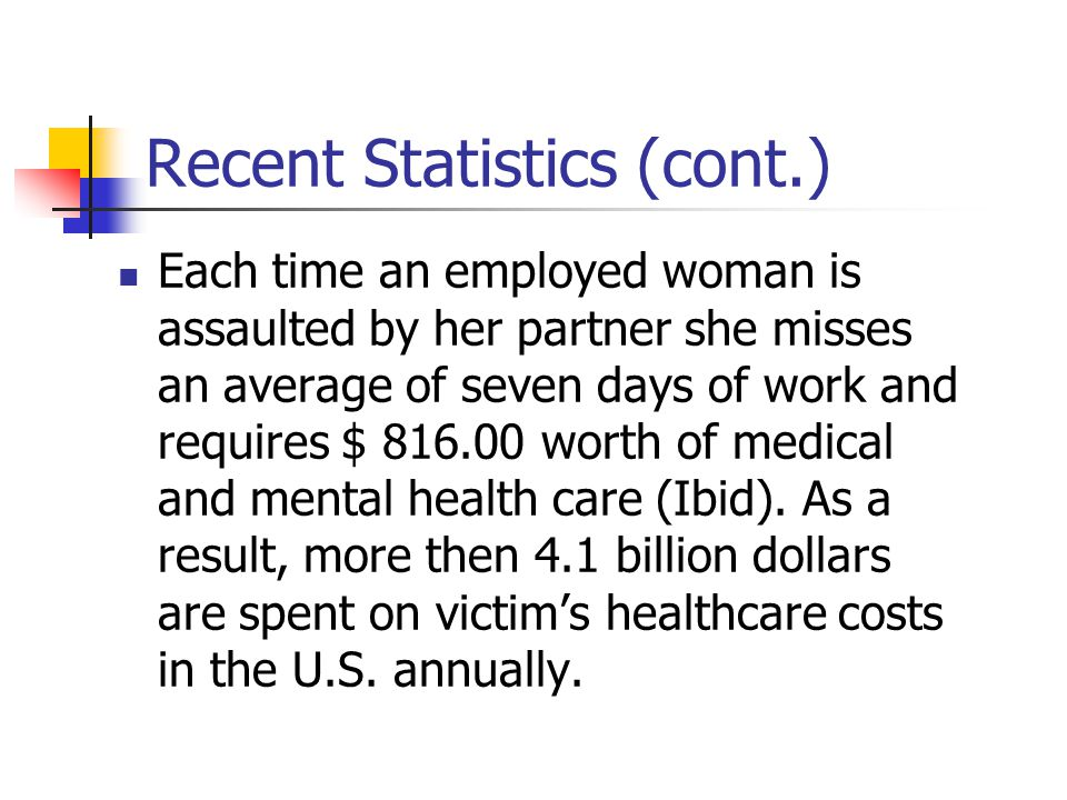 Recent Statistics (cont.) Each time an employed woman is assaulted by her partner she misses an average of seven days of work and requires $ 816.00 worth of medical and mental health care (Ibid).