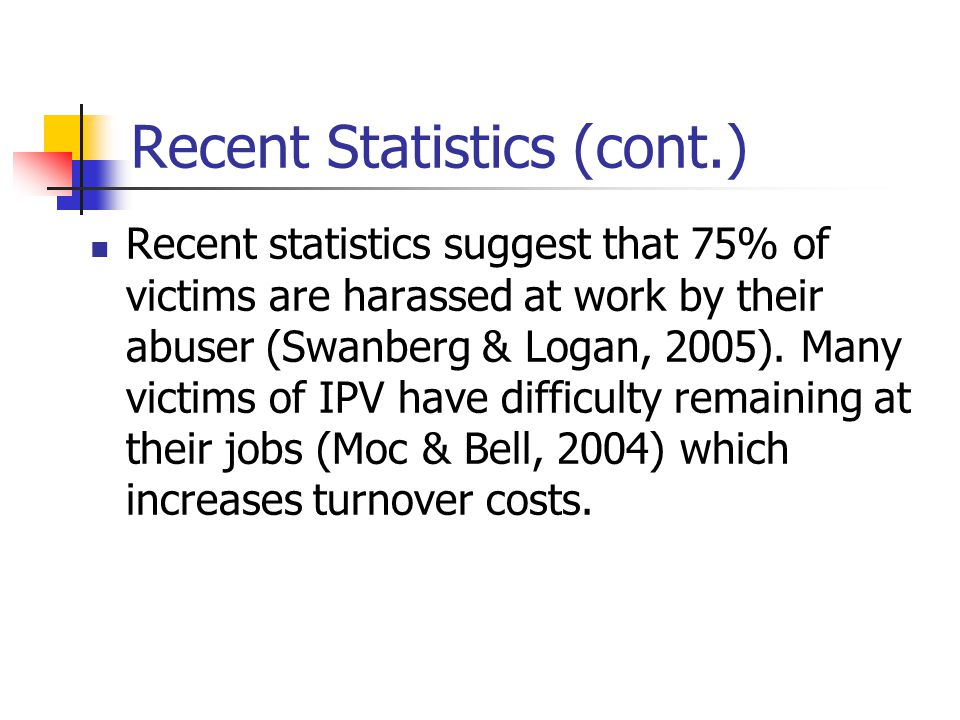 Recent Statistics (cont.) Recent statistics suggest that 75% of victims are harassed at work by their abuser (Swanberg & Logan, 2005).