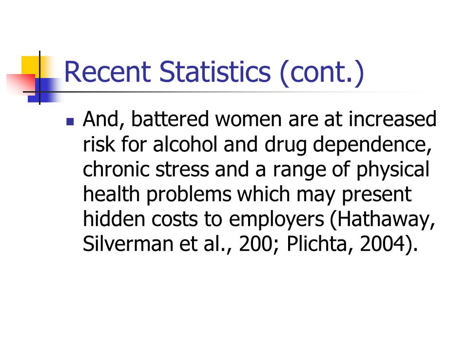 Recent Statistics (cont.) And, battered women are at increased risk for alcohol and drug dependence, chronic stress and a range of physical health problems which may present hidden costs to employers (Hathaway, Silverman et al., 200; Plichta, 2004).