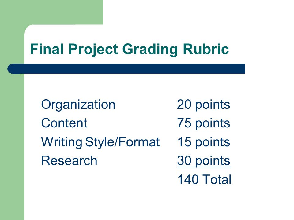 Final Project Grading Rubric Organization20 points Content75 points Writing Style/Format15 points Research30 points 140 Total