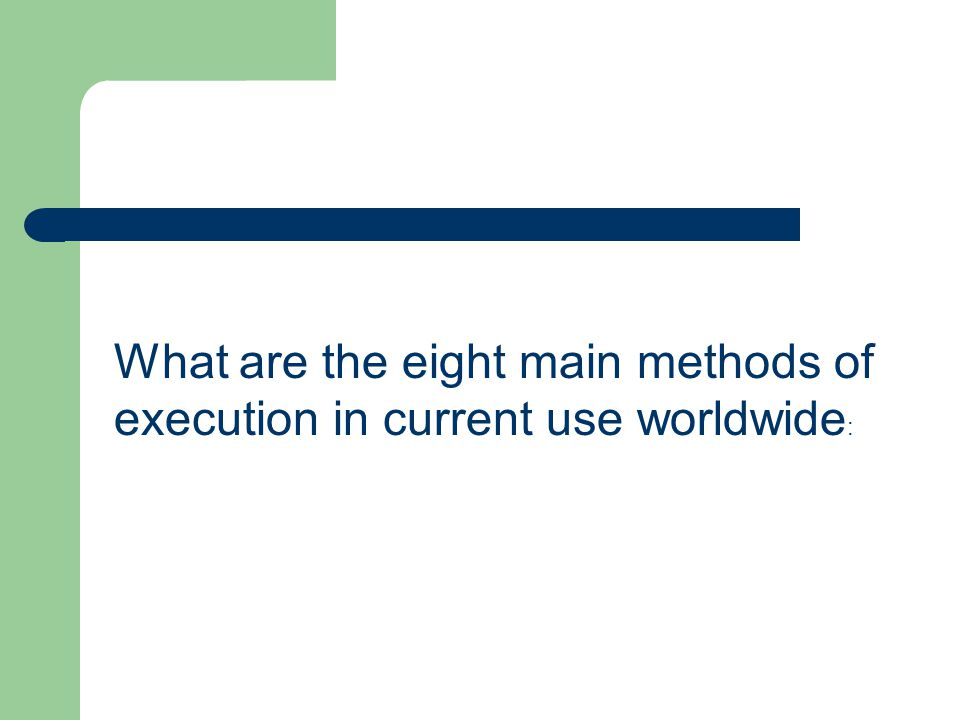 What are the eight main methods of execution in current use worldwide :