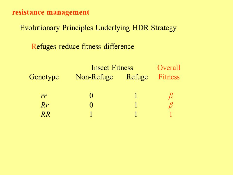 resistance management Evolutionary Principles Underlying HDR Strategy Refuges reduce fitness difference Insect Fitness Overall GenotypeNon-Refuge Refuge Fitness rr 0 1 β Rr 0 1β RR 1 11
