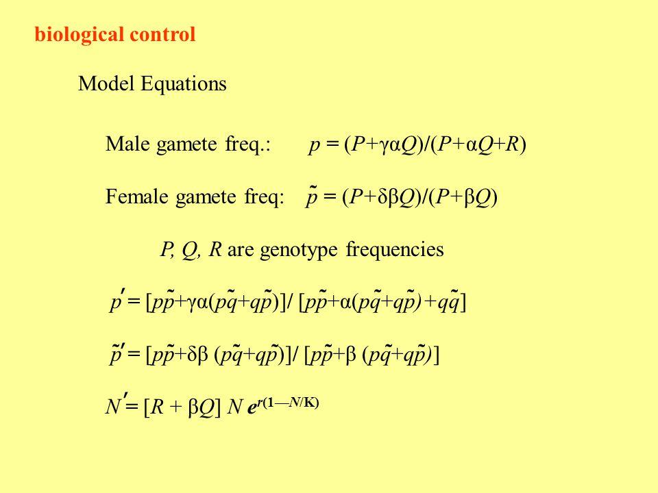 biological control Model Equations Male gamete freq.: p = (P+γαQ)/(P+αQ+R) Female gamete freq: p = (P+δβQ)/(P+βQ) P, Q, R are genotype frequencies p = [pp+γα(pq+qp)]/ [pp+α(pq+qp)+qq] p = [pp+δβ (pq+qp)]/ [pp+β (pq+qp)] N = [R + βQ] N e r(1—N/K) ˜ ' ˜ ' ˜˜ ˜˜˜˜˜˜ ˜˜˜˜˜ '