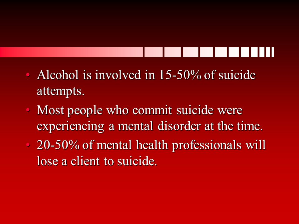 Alcohol is involved in 15-50% of suicide attempts.Alcohol is involved in 15-50% of suicide attempts.