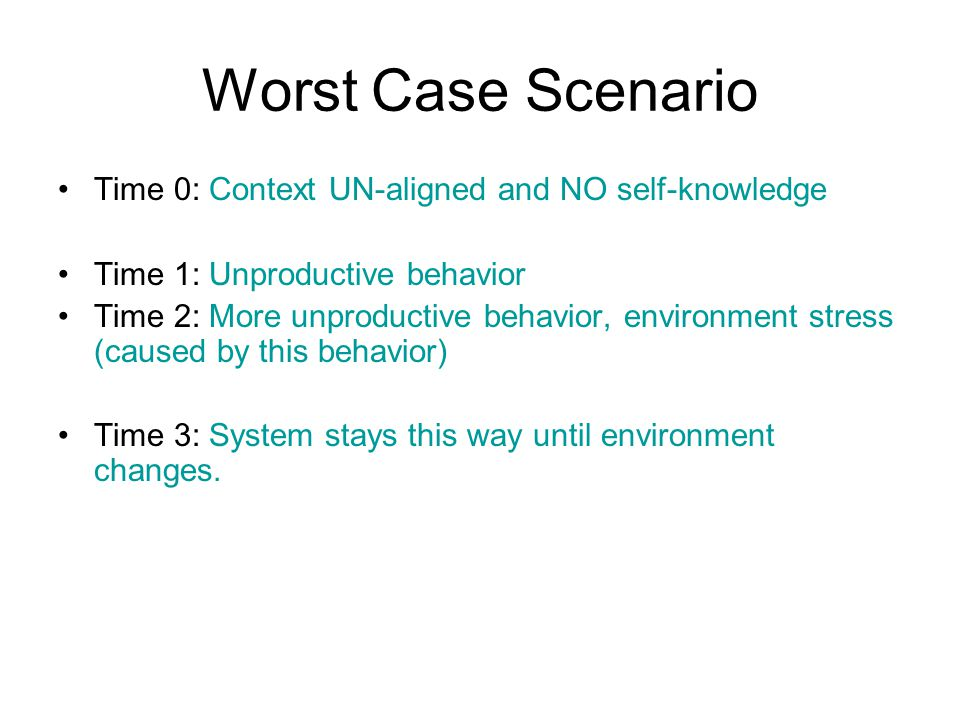 Worst Case Scenario Time 0: Context UN-aligned and NO self-knowledge Time 1: Unproductive behavior Time 2: More unproductive behavior, environment stress (caused by this behavior) Time 3: System stays this way until environment changes.