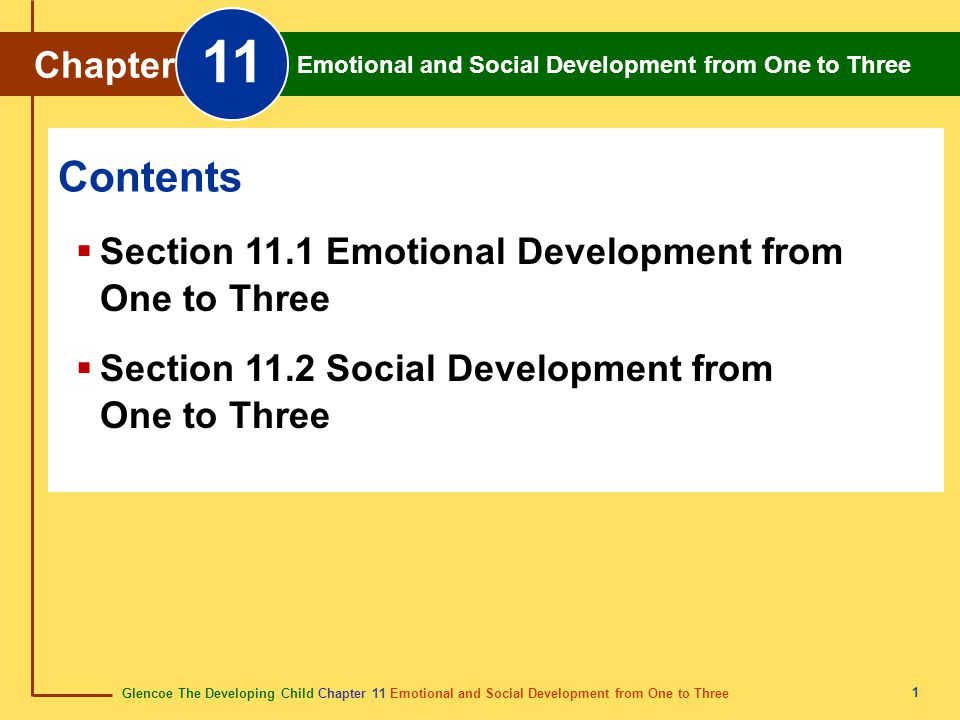 Glencoe The Developing Child Chapter 11 Emotional and Social Development from One to Three Chapter 11 Emotional and Social Development from One to Thr