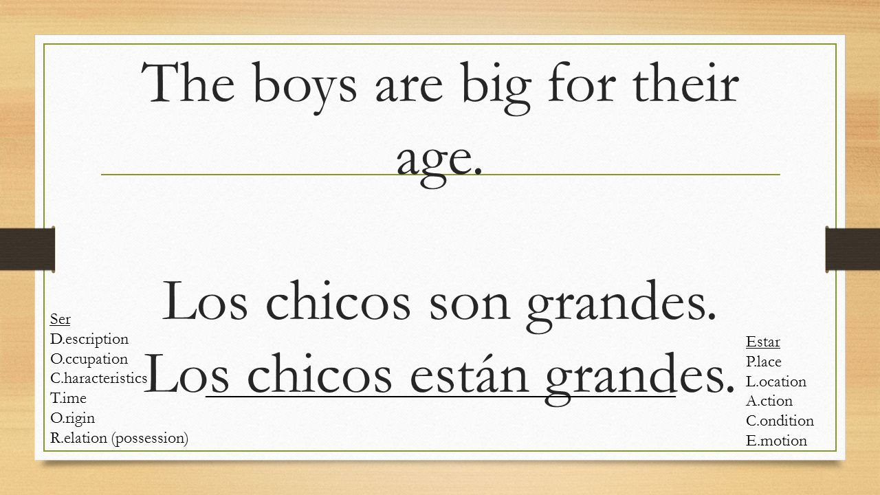 The boys are big for their age. Los chicos son grandes.