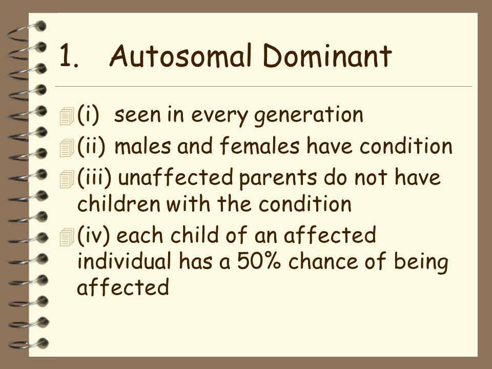 1.Autosomal Dominant 4 (i) seen in every generation 4 (ii) males and females have condition 4 (iii) unaffected parents do not have children with the condition 4 (iv) each child of an affected individual has a 50% chance of being affected