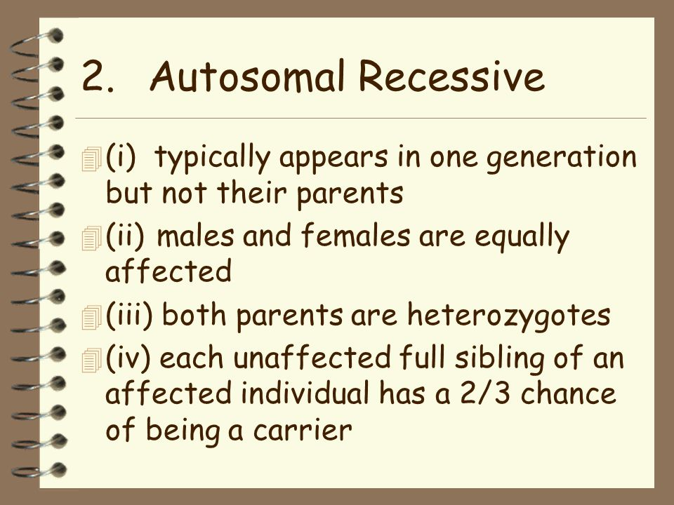 2.Autosomal Recessive 4 (i) typically appears in one generation but not their parents 4 (ii) males and females are equally affected 4 (iii) both parents are heterozygotes 4 (iv) each unaffected full sibling of an affected individual has a 2/3 chance of being a carrier