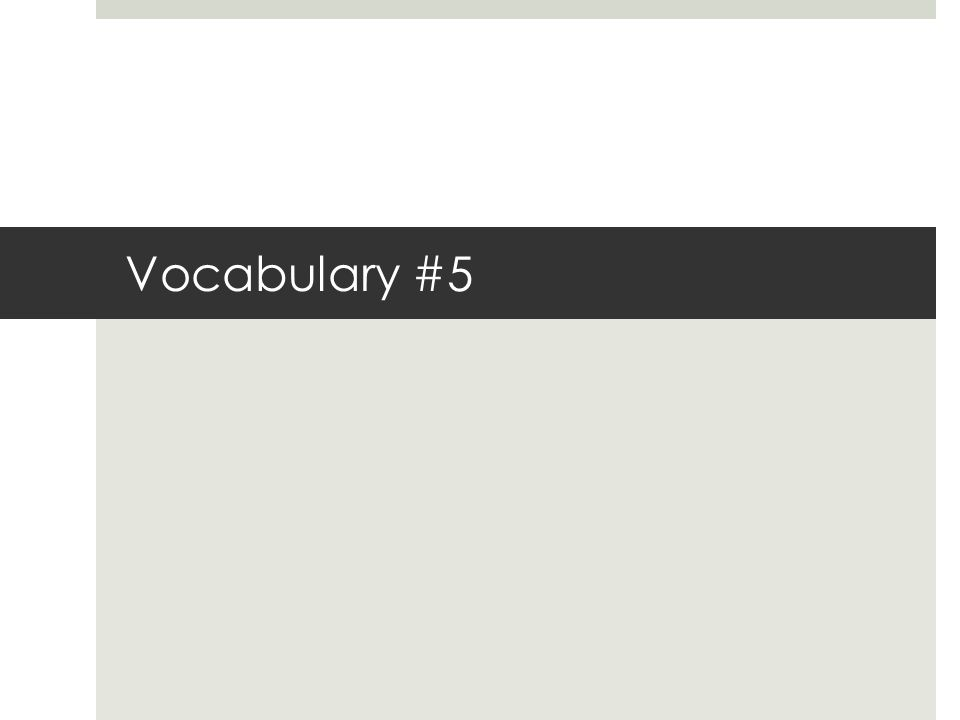 Vocabulary #5