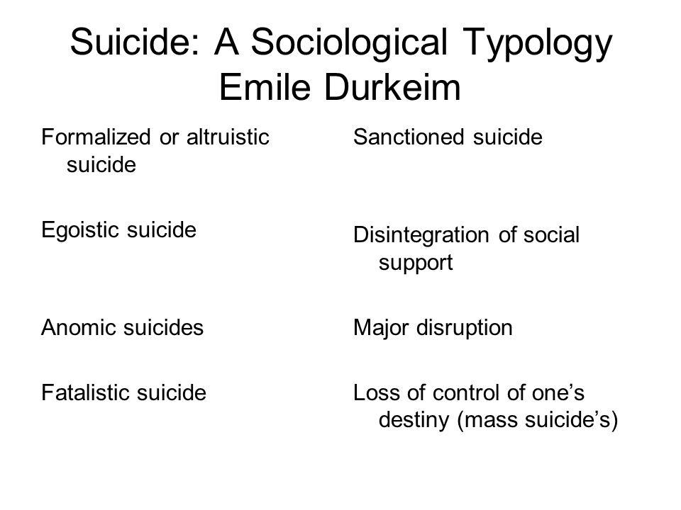 Suicide: A Sociological Typology Emile Durkeim Formalized or altruistic suicide Egoistic suicide Anomic suicides Fatalistic suicide Sanctioned suicide