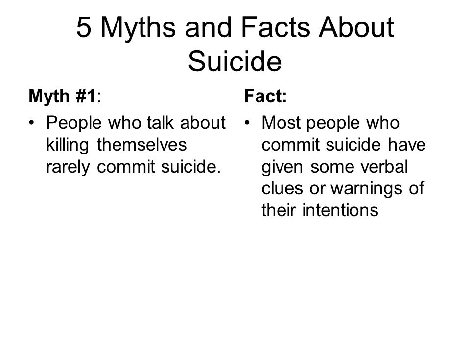 5 Myths and Facts About Suicide Myth #1: People who talk about killing themselves rarely commit suicide. Fact: Most people who commit suicide have giv
