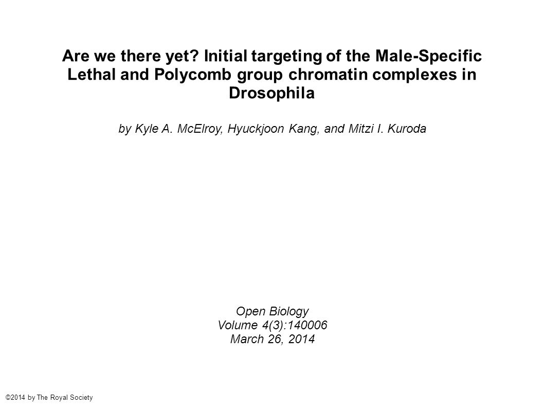 Are we there yet? Initial targeting of the Male-Specific Lethal and Polycomb group chromatin complexes in Drosophila by Kyle A. McElroy, Hyuckjoon Kan