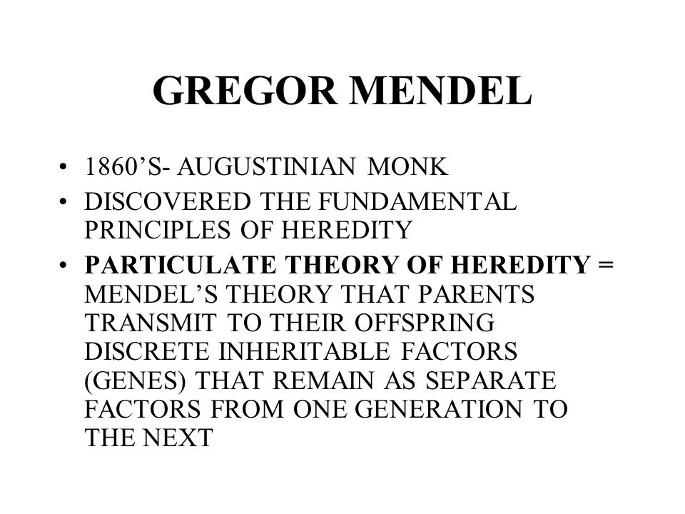 GREGOR MENDEL 1860'S- AUGUSTINIAN MONK DISCOVERED THE FUNDAMENTAL PRINCIPLES OF HEREDITY PARTICULATE THEORY OF HEREDITY = MENDEL'S THEORY THAT PARENTS TRANSMIT TO THEIR OFFSPRING DISCRETE INHERITABLE FACTORS (GENES) THAT REMAIN AS SEPARATE FACTORS FROM ONE GENERATION TO THE NEXT