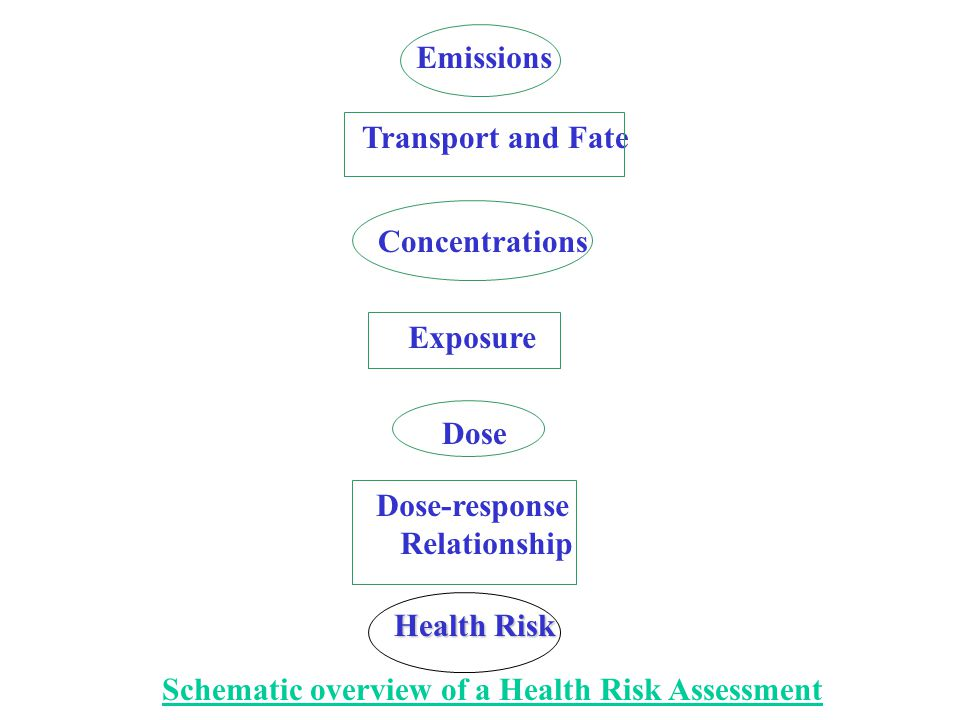 Emissions Transport and Fate Concentrations Exposure Dose Dose-response Relationship Health Risk Schematic overview of a Health Risk Assessment