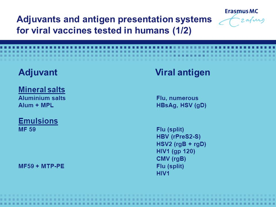 Adjuvants and antigen presentation systems for viral vaccines tested in humans (1/2) Adjuvant Viral antigen Mineral salts Aluminium saltsFlu, numerous Alum + MPLHBsAg, HSV (gD) Emulsions MF 59Flu (split) HBV (rPreS2-S) HSV2 (rgB + rgD) HIV1 (gp 120) CMV (rgB) MF59 + MTP-PEFlu (split) HIV1