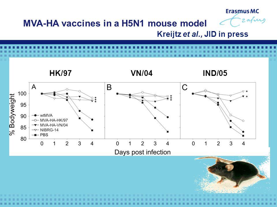 HK/97 VN/04 IND/05 MVA-HA vaccines in a H5N1 mouse model Kreijtz et al., JID in press