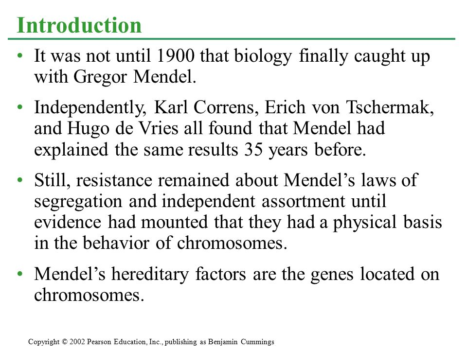 It was not until 1900 that biology finally caught up with Gregor Mendel.