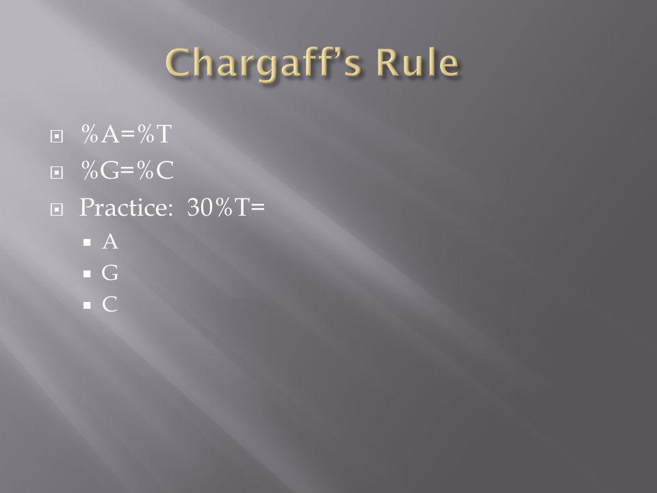  %A=%T  %G=%C  Practice: 30%T=  A  G  C