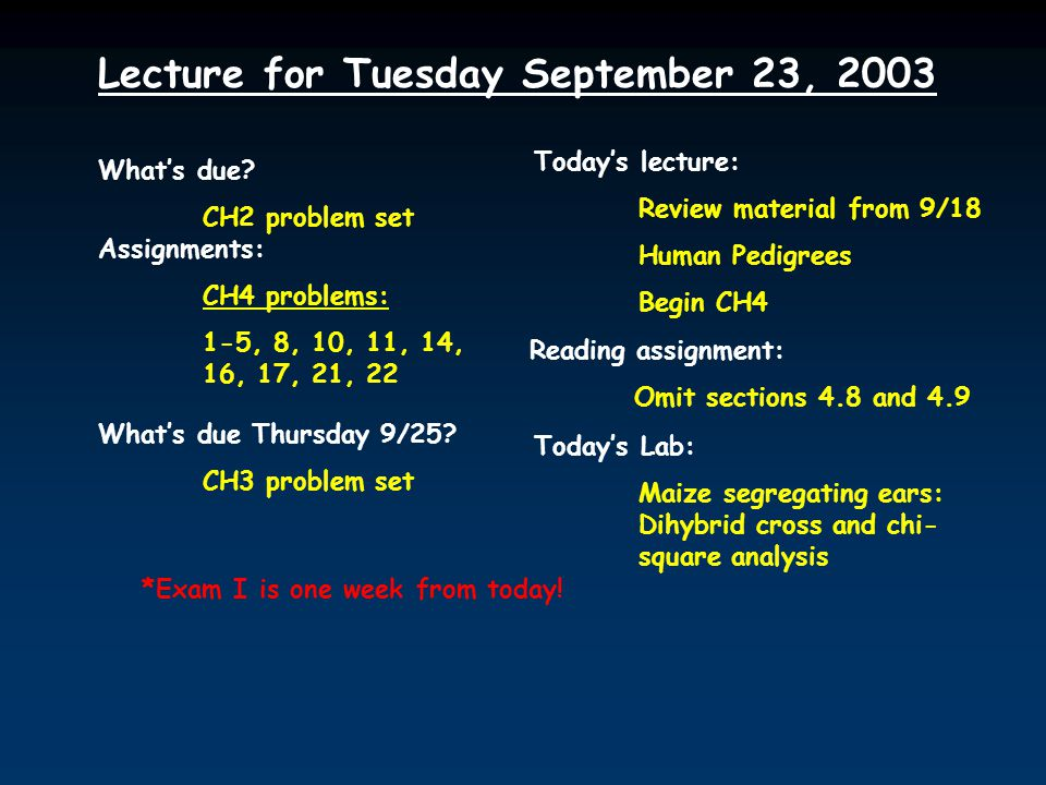 Lecture for Tuesday September 23, 2003 What's due.