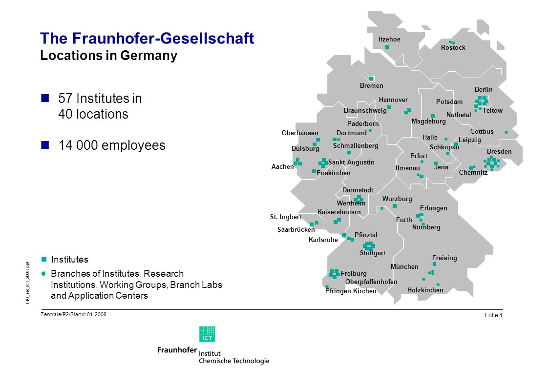 Folie 4 FhG_und_ICT_2008e.ppt The Fraunhofer-Gesellschaft Locations in Germany 57 Institutes in 40 locations 14 000 employees Branches of Institutes,