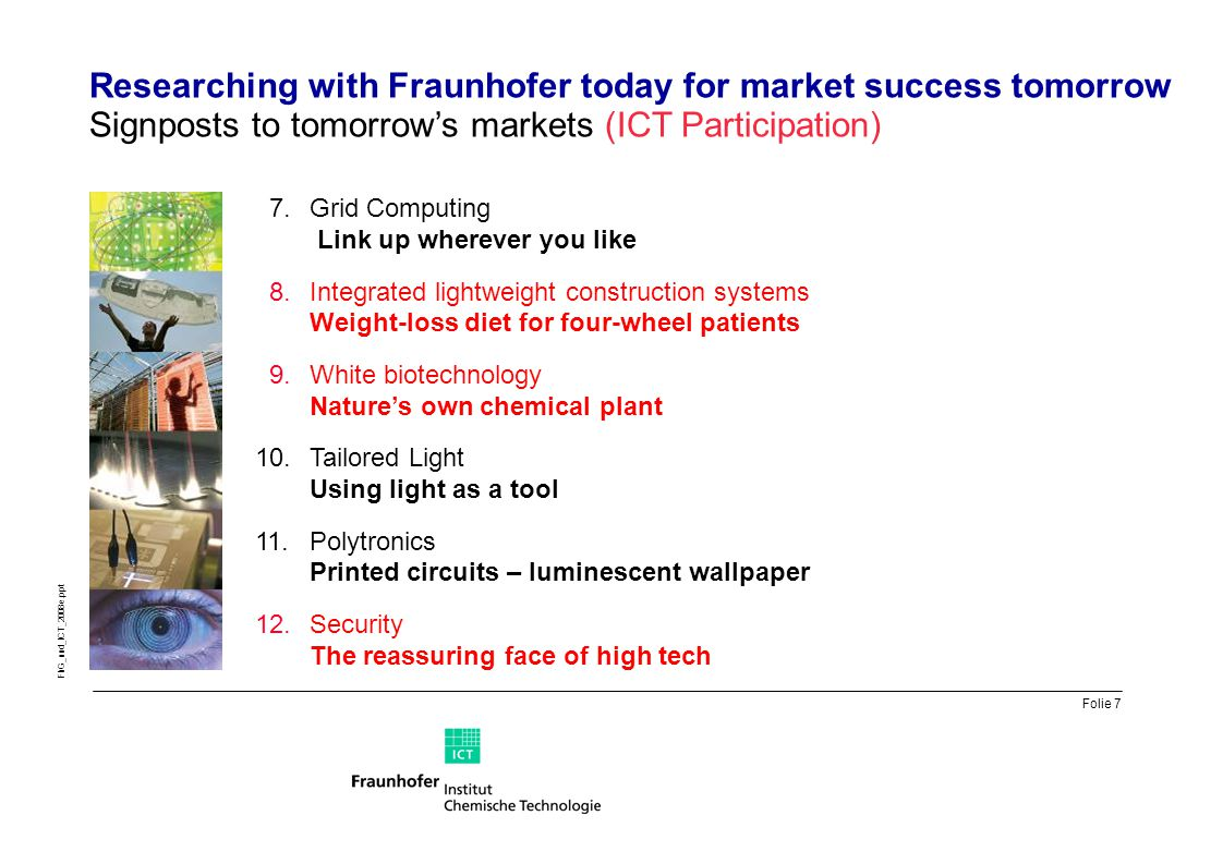 Folie 7 FhG_und_ICT_2008e.ppt Researching with Fraunhofer today for market success tomorrow Signposts to tomorrow's markets (ICT Participation) 7.Grid