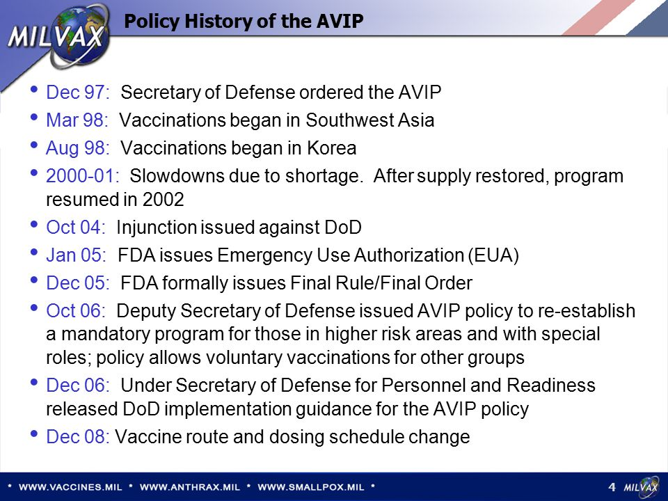 5 Current Policy Implementation Vaccinations are mandatory for DoD service members, emergency essential designated civilians, and contractor personnel performing mission-essential services assigned to:  Central Command area of responsibility, the Korean Peninsula, and the Horn of Africa for 15 or more consecutive days  Special units with biowarfare or bioterrorism related missions  Specialty units with approved exception to policy Vaccinations shall begin, to the extent feasible, up to 120 days prior to deployment or arrival in higher threat areas Mandatory and Voluntary Vaccinations