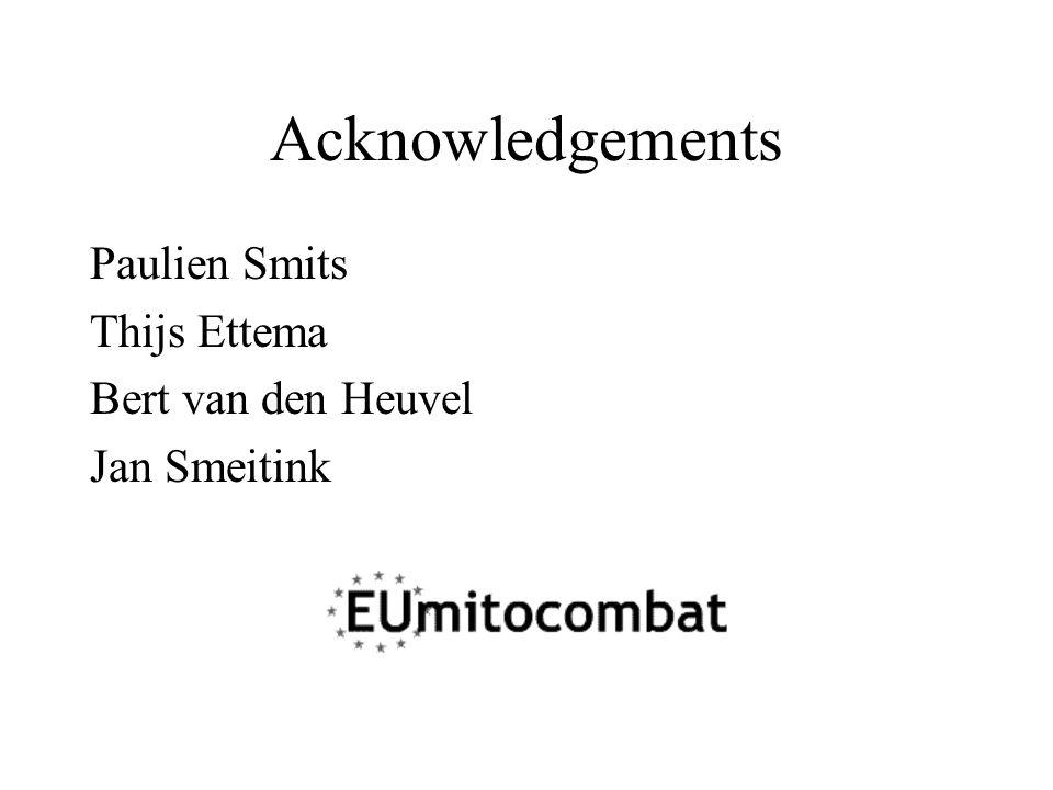 Acknowledgements Paulien Smits Thijs Ettema Bert van den Heuvel Jan Smeitink
