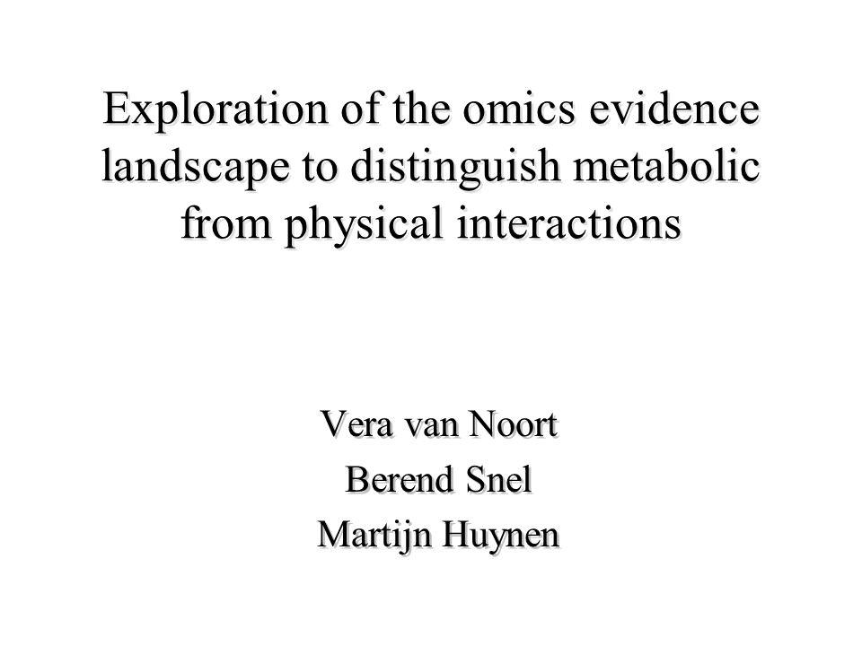 Exploration of the omics evidence landscape to distinguish metabolic from physical interactions Vera van Noort Berend Snel Martijn Huynen Vera van Noort Berend Snel Martijn Huynen