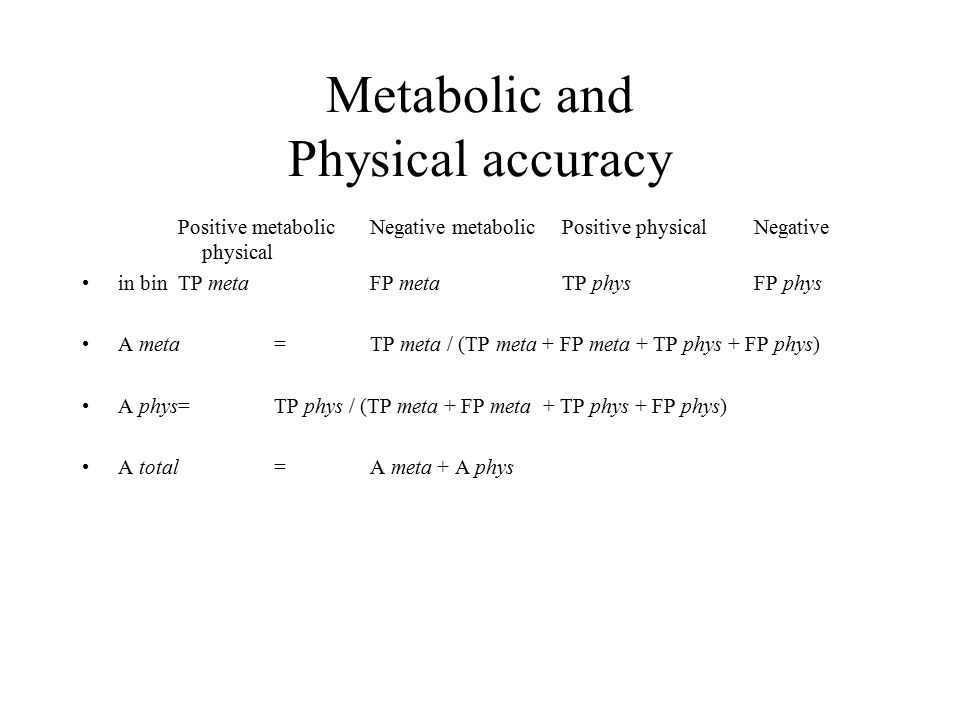 Metabolic and Physical accuracy Positive metabolicNegative metabolicPositive physicalNegative physical in binTP metaFP metaTP physFP phys A meta =TP meta / (TP meta + FP meta + TP phys + FP phys) A phys=TP phys / (TP meta + FP meta + TP phys + FP phys) A total = A meta + A phys